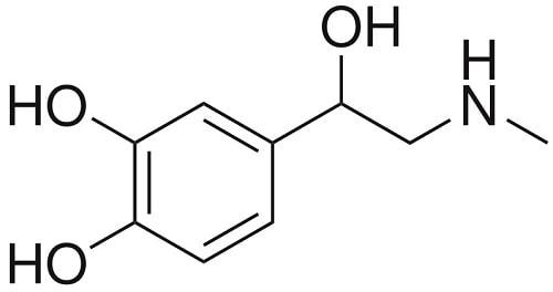 structure molécule adrénaline hormone catécholamine