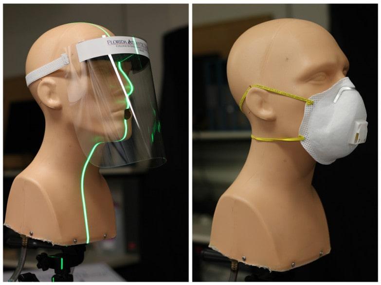 test écran facial masque valve