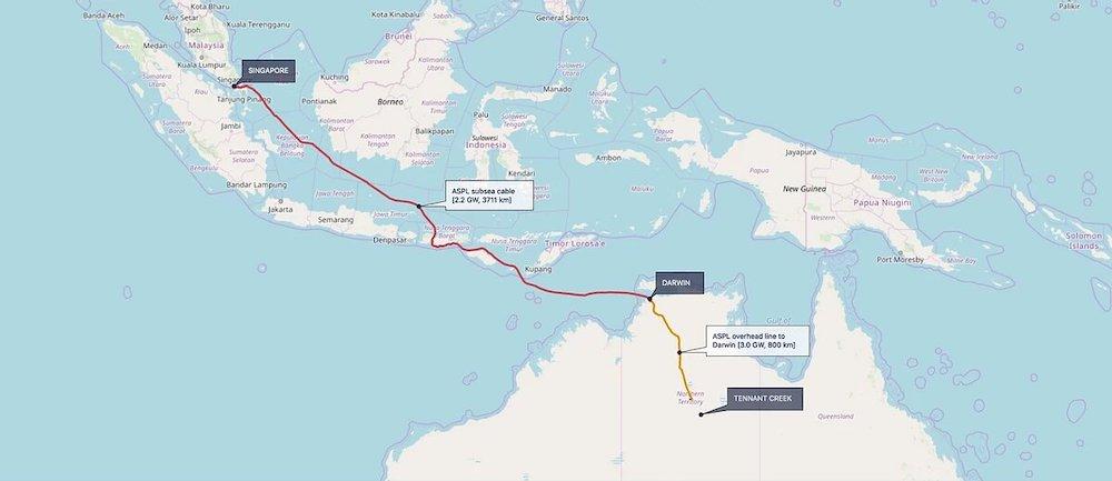 carte liaison centrale sun cable australie singapour