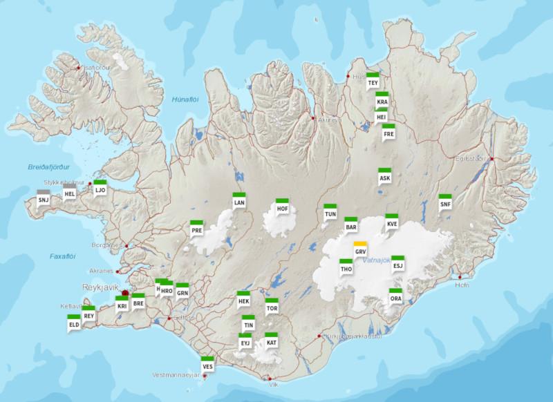 carte volcans islande