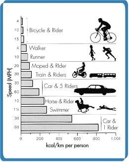 efficacité énergétique vélo moyens transport
