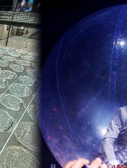 groupe et public concert dans bulles en plastique