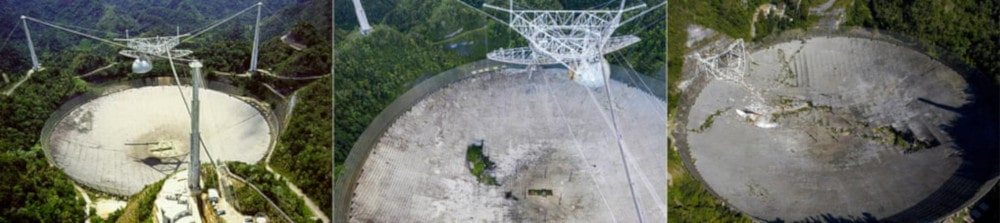 évolution dégâts télescope Arecibo