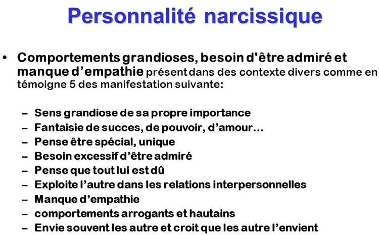caracteristiques personnalite narcissique