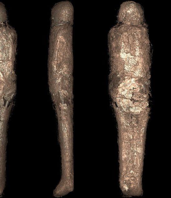 decouverte momie egyptienne enveloppee etrange structure
