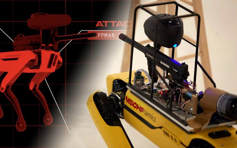 site web permet controler robot spot boston dynamics muni lanceur paintball