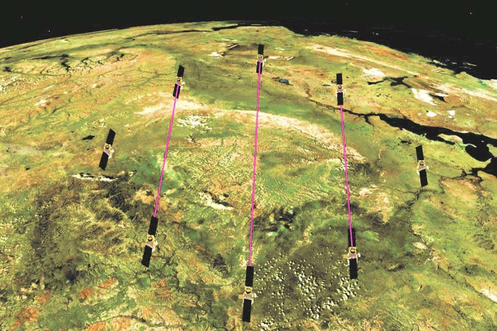 vue artiste satellites propulses par lasers photoniques