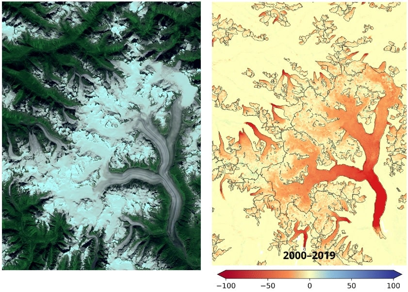 carte amincissement glacier satellite