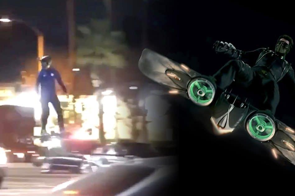 homme se balade en ville sur drone geant video