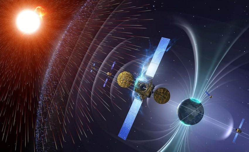 vent solaire champ magnetique satellites