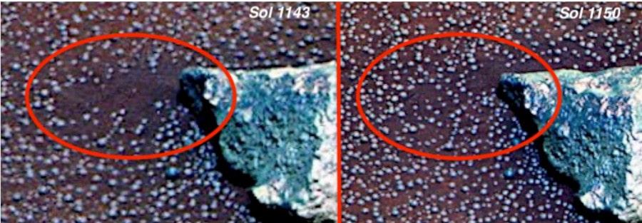 apparition sphères curiosity mars