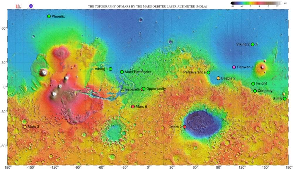carte engins Mars