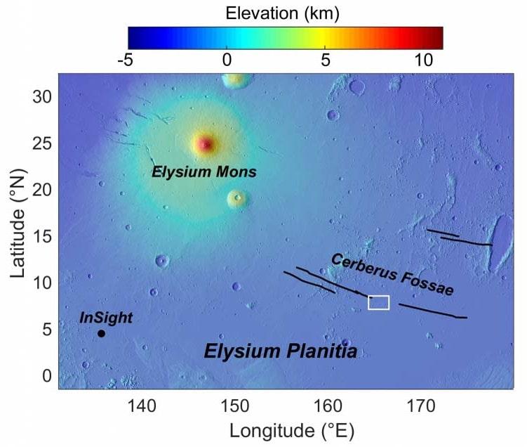 carte zone volcanique mars
