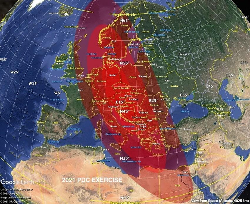 probabilites impact asteroide europe