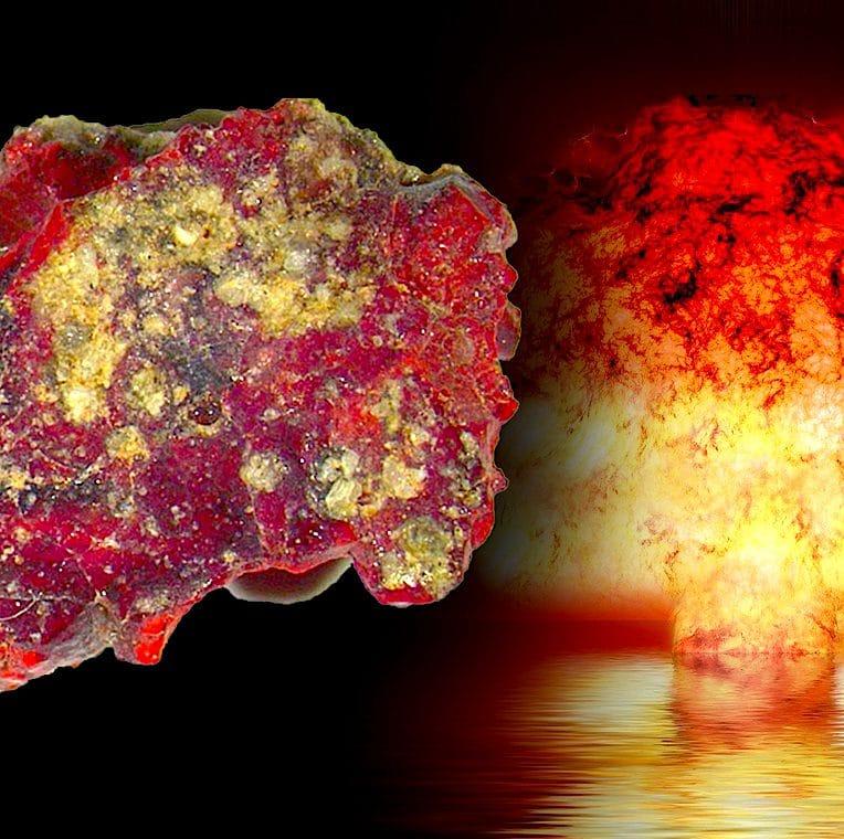 trinitite rouge sable desert essai nucleaire trinity quasicristal