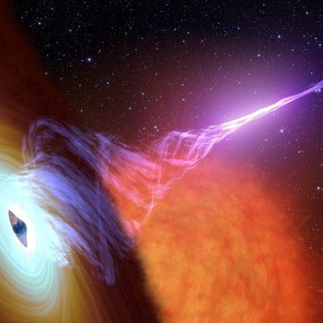 trous noirs jets courbes champs magnetiques galaxies