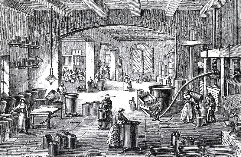 gravure fabrique parfums 19eme siecle