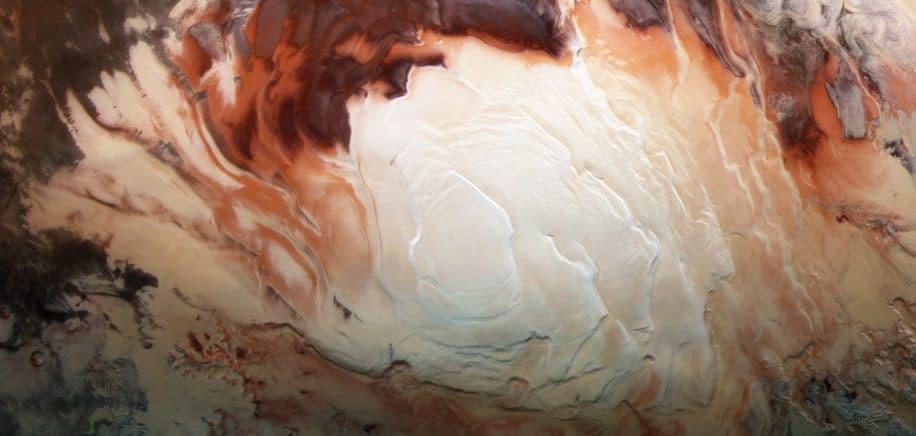 lacs pole sud Mars