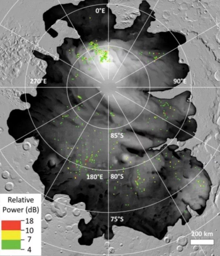 signaux radar lacs pole sud mars