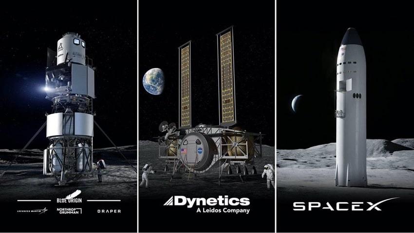 atterrisseurs lunaires dynetics blue origin spacex