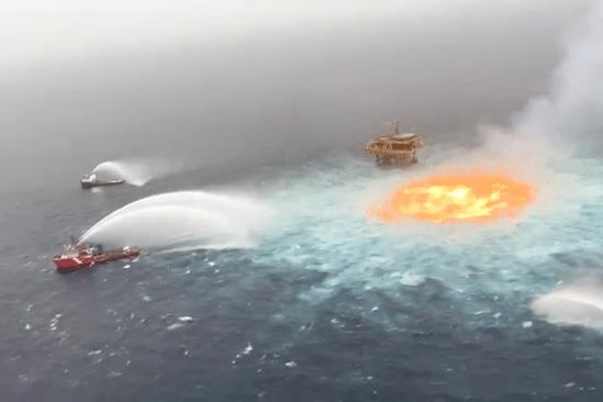 fuite pipeline sous-marin provoque gigantesque incendie golfe mexique