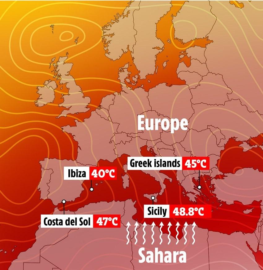 carte vagues chaleur europe