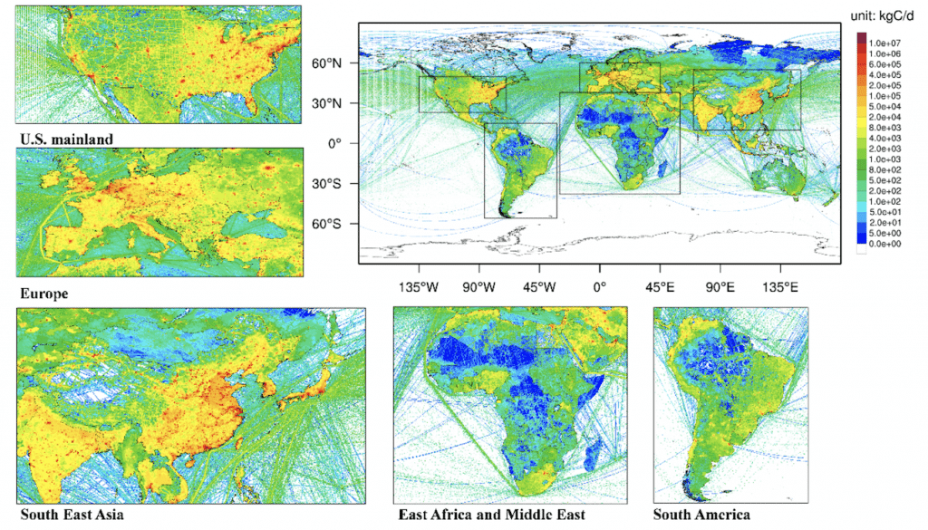 carte distribution mondiale emissions co2 fossiles 2020