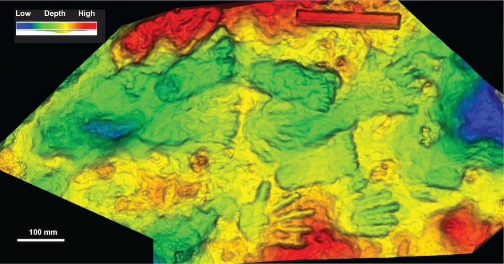 modele relief 3d empreintes fossiles quesang