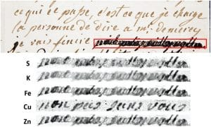 dechiffrage lettre marie-antoinette cuivre rayons x