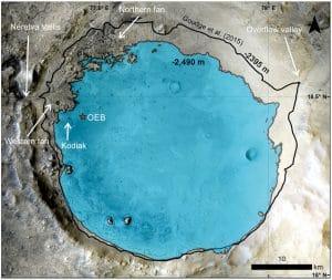 lac cratere jezero profondeur estimation