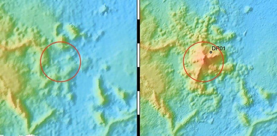plus grande eruption sous-marine donne naissance nouveau volcan massif carte elevation